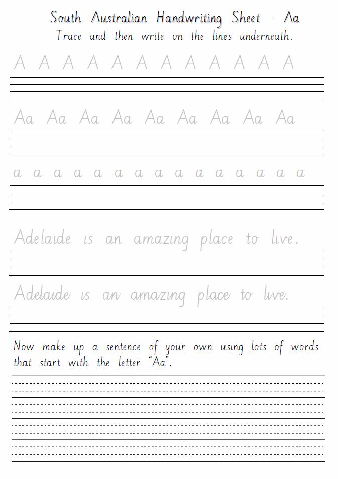 south australian handwriting sheets aa to zz. Black Bedroom Furniture Sets. Home Design Ideas
